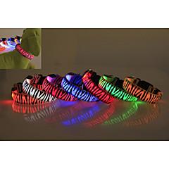 お買い得  犬用首輪/リード/ハーネス-犬 カラー LEDライト 防水 ゼブラ柄 ナイロン イエロー レッド グリーン ブルー ピンク