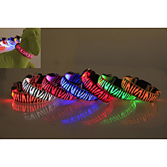 Dog Collar LED Lights Waterproof Zebra Nylon Yellow Red Green Blue Pink