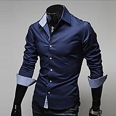 ieftine Muške košulje-Bărbați Guler Clasic - Mărime Plus Size Cămașă Muncă Bumbac Afacere - Mată De Bază / Manșon Lung / Primăvară / Toamnă / Zvelt