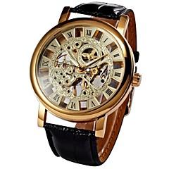 preiswerte Tolle Angebote auf Uhren-WINNER Herrn Armbanduhr / Mechanische Uhr Transparentes Ziffernblatt PU Band Luxus Schwarz / Mechanischer Handaufzug