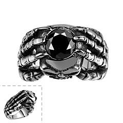 Maya klasycznego indywidualnie unikalny hold cyrkonia z rąk człowieka pierścień ze stali nierdzewnej (czarny) (1szt)