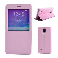 Для Samsung Galaxy Note со стендом / с окошком Кейс для Чехол Кейс для Один цвет Искусственная кожа Samsung Note 5 / Note 4