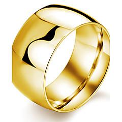 お買い得  指輪-男性用 チタン鋼 / ゴールドメッキ バンドリング - ファッション ホワイト / ブラック / ゴールデン リング 用途 パーティー / 日常 / カジュアル