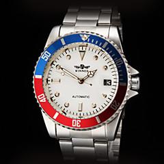 お買い得  メンズ腕時計-WINNER 男性用 ドレスウォッチ 自動巻き カレンダー ステンレス バンド シルバー