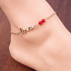 Kadınların basit kırmızı boncuk harfleri zincir halhal aşk