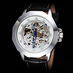 FORSINING Heren mechanische horloges Polshorloge Hol Gegraveerd Automatisch opwindmechanisme Leer Band Zwart