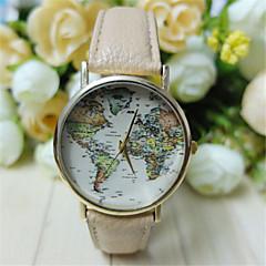 お買い得  メンズ腕時計-男性用 リストウォッチ クォーツ ホット販売 PU バンド ハンズ 世界地図柄 ブラック / 白 / グリーン - ベージュ Brown ライトグリーン 1年間 電池寿命 / SSUO 377