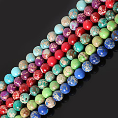 Beadia 1Str(Approx 47pcs) 8mm Round Natural Stone Beads Dyed Colors Sea Sediment Jasper Beads