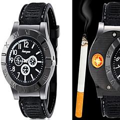 זול מבצעי שעונים-בגדי ריקוד גברים שעון יד ייחודי Creative צפה קווארץ PU להקה יצירתי שחור חום