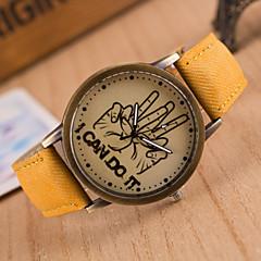 preiswerte Tolle Angebote auf Uhren-Damen Quartz Armbanduhr Armbanduhren für den Alltag PU Band Uhr mit Wörtern / Modisch Schwarz