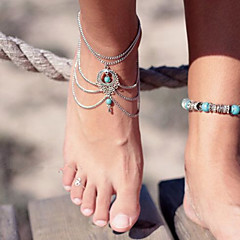cheap Body Jewelry-Turquoise Layered Hollow Out Anklet Barefoot Sandals - Turquoise Drop Unique Design, Vintage, Party Screen Color For Party Birthday Gift Women's