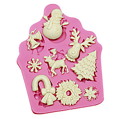 Fondant Cake Decorating Tools Christmas Themed Tree Santa Claus Reindeer Snowman Silicone Mold For Candy Chocolate