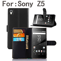 For Sony Case / Xperia Z5 Wallet / Card Holder / with Stand / Flip Case Full Body Case Solid Color Hard PU Leather for SonySony Xperia Z5