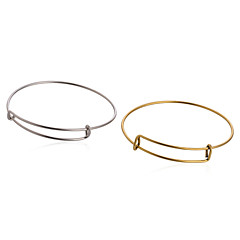 cheap Beads & Jewelry Making-Men's Women's Bangles - Circle Silver Golden Bracelet For Daily Casual