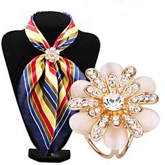billige Brocher-mode indlæg diamant opal blomst tørklæde spænde