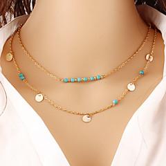preiswerte Halsketten-Damen Türkis Anhängerketten / Ketten - Türkis Personalisiert, Geometrisch, Böhmische Gold, Silber Modische Halsketten Für Weihnachts Geschenke, Party, Besondere Anlässe