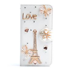 For Samsung Galaxy Note Kortholder Rhinsten Med stativ Flip Etui Heldækkende Etui Eiffeltårnet Kunstlæder for SamsungNote 5 Note 4 Note 3