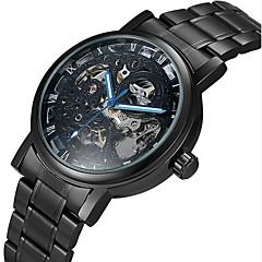 WINNER Męskie Szkieletowy zegarek mechaniczny Nakręcanie automatyczne Grawerowane Stal nierdzewna Pasmo Ekskluzywne Czarny SrebroBlack