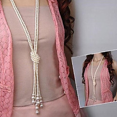 お買い得  ネックレス-女性用 真珠 レイヤード / ラリアット ペンダントネックレス / レイヤードネックレス / パールネックレス  -  真珠, 人造真珠 ファッション, 多層式 ホワイト ネックレス 用途 パーティー, 日常, カジュアル
