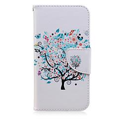 Voor Samsung Galaxy hoesje Kaarthouder / Portemonnee / met standaard / Flip / Patroon hoesje Volledige behuizing hoesje Boom PU-leer