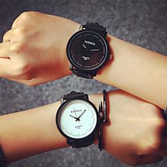 voordelige Horloges voor stelletjes-Heren Dames Voor Stel Modieus horloge Kwarts Leer Band Zwart Koffie Zwart/Wit Wit/bruin