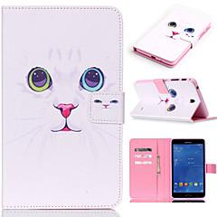 お買い得  Galaxy Tab 4 10.1 ケース / カバー-のために Samsung Galaxy ケース カードホルダー / ウォレット / スタンド付き / フリップ / パターン ケース フルボディー ケース 猫 PUレザー SamsungTab 4 10.1 / Tab 4 7.0 / Tab A 9.7 / Tab A