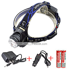 568-T6 01 Headlamps Headlight LED 2000 lm 3 Mode Cree XM-L T6 with Chargers Zoomable Adjustable Focus Rechargeable Waterproof Anglehead