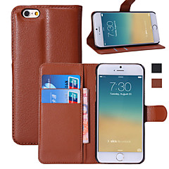 Для Кейс для iPhone 6 / Кейс для iPhone 6 Plus Кошелек / Бумажник для карт / со стендом / Флип Кейс для Чехол Кейс для Один цвет Твердый