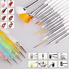 מברשות מנקדות ציור עיצוב 1set מסמר מברשת ציפורניים אמנות המפרטות עט חבילת כלים כלי ערכה להגדיר מסמר סטיילינג (20pcs / סט)
