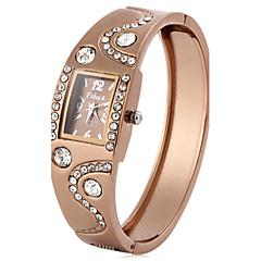 preiswerte Damenuhren-Damen Quartz Armbanduhr Imitation Diamant Rose Gold überzogen PU Band Perlen Simulierte Diamant-Uhr Elegant Modisch Schwarz Braun