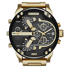 お買い得  大特価腕時計-男性用 軍用腕時計 クォーツ カレンダー 2タイムゾーン 3タイムゾーン ステンレス バンド ハンズ ブラック / グレー / ゴールド - ブラック グレー ゴールデン