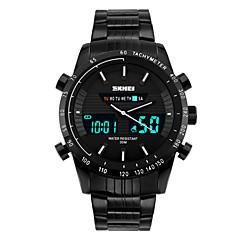preiswerte Tolle Angebote auf Uhren-SKMEI Herrn Sportuhr / Armbanduhr Alarm / Kalender / Chronograph Edelstahl Band Schwarz / Wasserdicht / Duale Zeitzonen