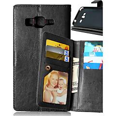 お買い得  Samsung その他の機種用ケース/カバー-ケース 用途 Samsung Galaxy Samsung Galaxy ケース ウォレット / カードホルダー / スタンド付き フルボディーケース ソリッド PUレザー のために J5 / J1 / Grand Prime