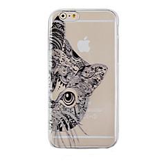 Недорогие Кейсы для iPhone 6-Кейс для Назначение Apple iPhone 6 iPhone 6 Plus Прозрачный С узором Кейс на заднюю панель Кот Твердый ПК для iPhone 6s Plus iPhone 6s