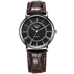 お買い得  メンズ腕時計-男性用 リストウォッチ 耐水 レザー バンド チャーム ブラック / ブラウン