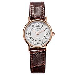 preiswerte Tolle Angebote auf Uhren-Damen Armbanduhren für den Alltag Modeuhr Quartz 30 m Wasserdicht Leder Band Analog Charme Schwarz / Weiß / Rot - Rot Rosa Dunkelbraun