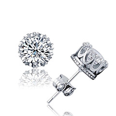 Men's Women's Stud Earrings Crystal AAA Cubic Zirconia Basic Fashion Simple Style Costume Jewelry Silver Sterling Silver Crystal Zircon