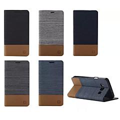 Χαμηλού Κόστους Galaxy A7 Θήκες / Καλύμματα-Για Samsung Galaxy Θήκη Θήκη καρτών / με βάση στήριξης / Ανοιγόμενη / Μαγνητική tok Πλήρης κάλυψη tok Μονόχρωμη Συνθετικό δέρμα SamsungA7