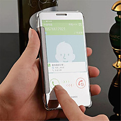 billige Galaxy A7 Etuier-For Samsung Galaxy etui Spejl Flip Transparent Etui Bagcover Etui Helfarve PC for Samsung A8 A7 A5