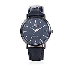 お買い得  メンズ腕時計-SOXY 男性用 リストウォッチ クォーツ ホット販売 レザー バンド ハンズ チャーム ブラック / ブラウン - ブラック Brown / ステンレス