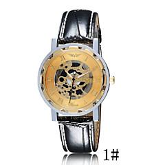 abordables Relojes Mecánicos-Hombre Reloj de Pulsera Cuarzo Resistente al Agua Huecograbado Piel Banda Analógico Negro / Marrón - # 3 # 4 # 5