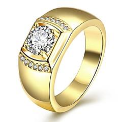 ale caliente de oro amarillo anillo de finih 925 ilver Terling para hombres con joyas de circonio cúbico ovalada 6x8mm