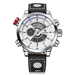 preiswerte Herrenuhren-WEIDE Herrn Armbanduhr / Digitaluhr Alarm / Kalender / Chronograph Leder Band Charme Schwarz / Wasserdicht / LCD / Duale Zeitzonen