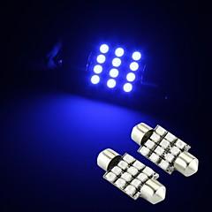 cheap LED Car Bulbs-2 x Blue 12 SMD LED Festoon Interior Dome Bulb Light 36mm