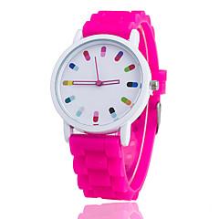 お買い得  メンズ腕時計-女性用 クォーツ リストウォッチ クール / カジュアルウォッチ シリコーン バンド カジュアル / ファッション ブラック / 白