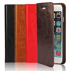 Недорогие Кейсы для iPhone 6-Кейс для Назначение Apple iPhone 6 iPhone 6 Plus Бумажник для карт со стендом Флип Чехол Сплошной цвет Твердый Настоящая кожа для iPhone