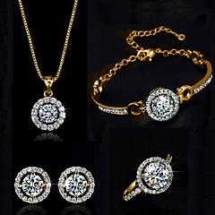 Jewelry Set Shining Crystal Elegant Bling Pendant Necklace Earring Ring Bracelet Gift for Bride(Assorted Color)