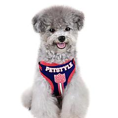 お買い得  犬用首輪/リード/ハーネス-犬 ハーネス リード 調整可能 / 引き込み式 キャラクター 繊維 レッド ブルー
