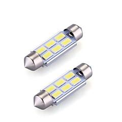 お買い得  自動車用LED電球-2xfestoon 6x5630smd 6000K白色光は、自動車用電球(直流12V、36ミリメートル)を導きました