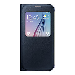 For Samsung Galaxy S7 Edge Etuier Med vindue Flip Heldækkende Etui Helfarve Blødt Kunstlæder for SamsungS8 S8 Plus S7 edge S7 S6 edge